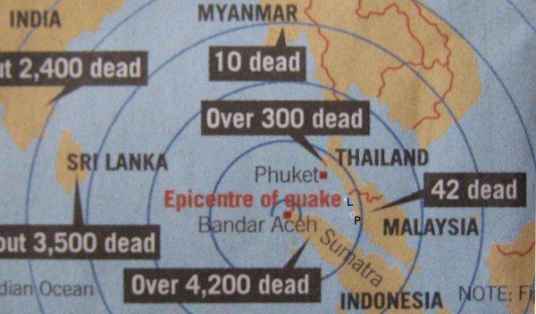 Onde de choc du tremblement de terre dans le Sud-Est asiatique